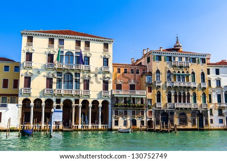 Venezian buildings beside the grand canal in Venice (Italy).