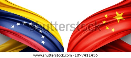Venezuela and China flag of silk with copyspace for your text or images and white background-3D illustration Stockfoto ©