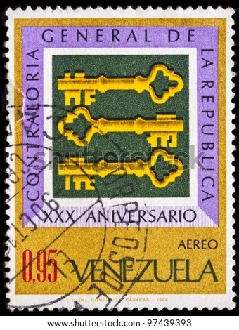 VENEZUELA - CIRCA 1968: A stamp printed by Venezuela, shows XXX Anniversary of the Establishment of the Comptroller General of the Republic, circa 1968