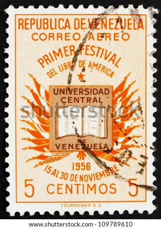 VENEZUELA - CIRCA 1956: a stamp printed in the Venezuela shows Book and Flags of American Nations, Book Festival of the Americas, circa 1956