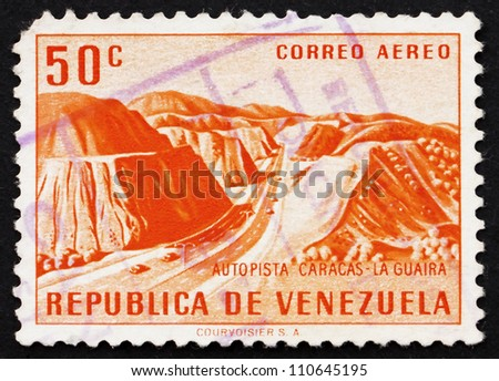 VENEZUELA - CIRCA 1956: a stamp printed in the Venezuela shows Caracas �¢?? La Guaira Highway, circa 1956