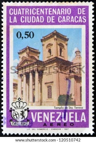 VENEZUELA - CIRCA 1967: A stamp printed in Venezuela shows Temple of Santa Teresa in Caracas, circa 1967