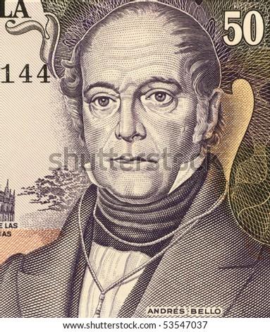 VENEZUELA - CIRCA 1995: Andres Bello (1781-1865) on 50 Bolivares 1995 Banknote from Venezuela. Venezuelan  humanist, philosopher, educator, poet, lawmaker and philologist.
