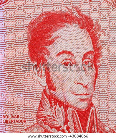 VENEZUELA - CIRCA 1989: Simon Bolivar on 5 bolivares 1989 banknote from Venezuela. One of the most important leaders of Spanish America's successful struggle for independence.