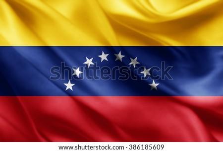 Venezuela flag of silk  Stockfoto ©