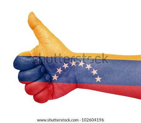 Venezuela flag on thumb up gesture like icon