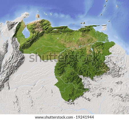 Venezuela. Shaded relief map with major urban areas. Surrounding territory greyed out. Colored according to vegetation. Includes clip path for the state area. Data source: NASA