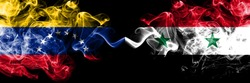 Venezuela vs Syria, Syrian smoky mystic flags placed side by side. Thick colored silky smoke flags of Venezuela and Syria, Syrian.