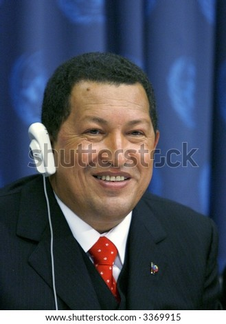 Venezuelan president Hugo Chavez at the United Nations in New York