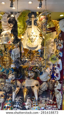 VENICE APRIL 14: Typical venetian carnival masks in store on April 14th, 2015 in Venice, Italy #281618873