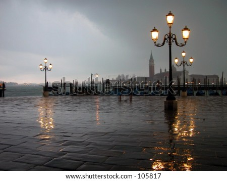 Venice at night under the rain. Italy.