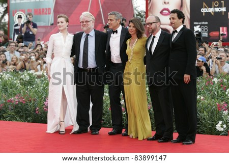 VENICE - AUG 31: Grant Heslov, Evan Rachel Wood, Marisa Tomei, Paul Giamatti, Philip Seymour Hoffman, George Clooney at the 68th Venice International Film Festival in Venice,Italy on August 31, 2011.