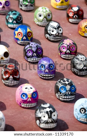 "Venice Beach, CA March 8, 2008:  Painted papier mache skulls celebrating ""Dia de los Muertes"" (Day of the Dead) on sale at Venice Beach."