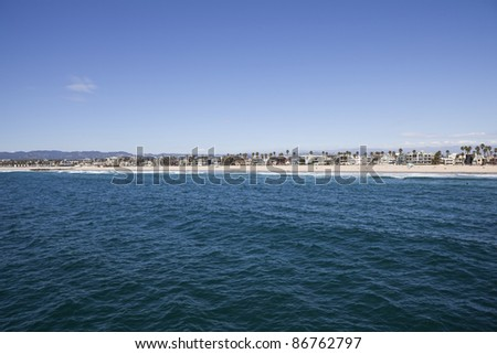 Venice Beach California aerial - sand, sea, surf and homes. - stock photo