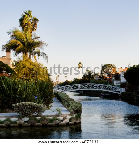 Venice Beach canals at sunset, Los Angeles, California.
