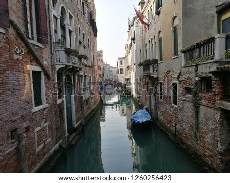 Venice. Beautiful view. Canal, water and walls of houses. #1260256423