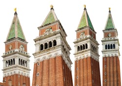 Venice, Campanile di San Marco (bell tower) in St Mark square, isolated on white background. UNESCO world heritage site, Veneto, Italy, Europe. Collection of four images