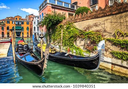 Venice canal gondola panorama landmark #1039840351