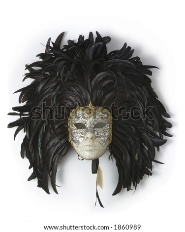 Venice carnival mask with black feathers, porcelain and gold - stock photo