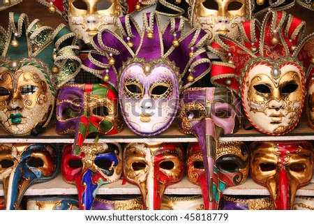 Venice carnival masks. Famous traditional decoration from Venezia, Italy.