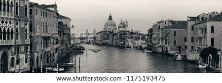 Venice Church Santa Maria della Salute and canal in Italy panorama.
