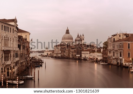 Venice Church Santa Maria della Salute and canal with long exposure in Italy.