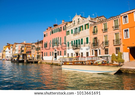 Venice City of Italy. View on Grand Canal, Venetian Landscape with boats and gondolas. #1013661691