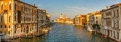 Venice. Cityscape image of Grand Canal in Venice, with Santa Maria della Salute Basilica in the background.