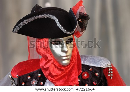 VENICE - FEBRUARY 15: The Carnival of Venice is an annual festival starting around two weeks before Ash Wednesday and ends on Shrove Tuesday or Mardi Gras February 15, 2007 in Venice, Italy. - stock photo