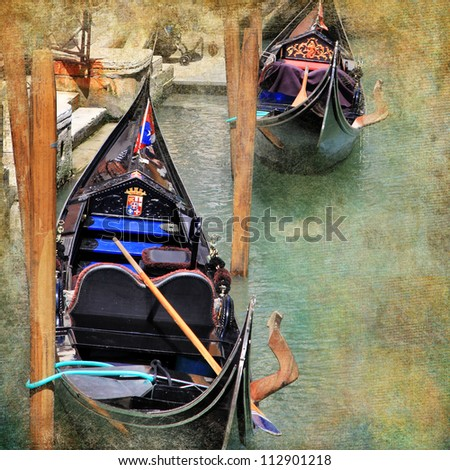 Venice. gondolas. artwork in painting style