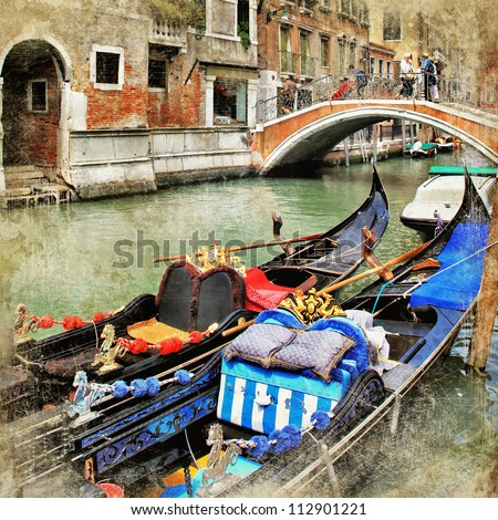 Venice. gondolas. artwork in painting style