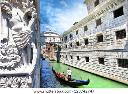 Venice --gondolas passing over Bridge of Sighs