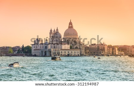 Venice, Grand Canal and Basilica Santa Maria della salute,Venice, Italy at sunset. #312194987