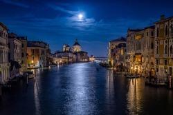 Venice Grand canal in night scene. Venezia Grand canal in night. Night Grand canal in Venice