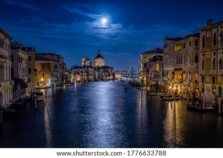 Venice Grand canal in night scene. Venezia Grand canal in night. Night Grand canal in Venice