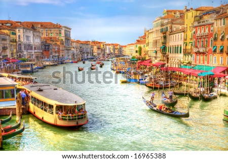 Venice Grand Canal view. Draw stylized photo (HDR). #16965388