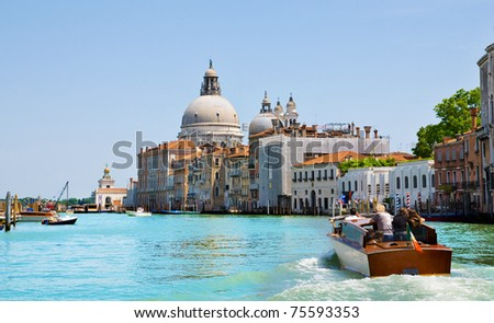 Venice Grand canal with boat in summer bright day, Italy