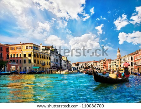 Venice Grand canal with gondolas and Rialto Bridge, Italy in summer bright day #110086700
