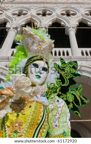 VENICE, IT - FEBRUARY 16: Unidentified disguised woman posing at the Carnival of Venice February 16, 2009 in Venice, IT.