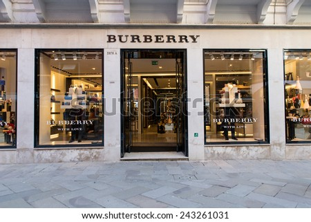 Venice, IT. November 14, 2014. The Burberry shop in Venice. Burberry Group plc is a British luxury fashion house, distributing outerwear, fashion accessories, fragrances, sunglasses, and cosmetics.