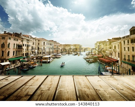 Venice, Italy and wooden surface #143840113