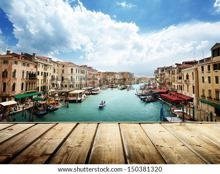 Venice, Italy and wooden surface #150381320