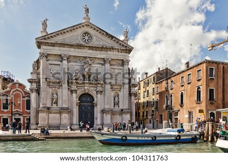 VENICE, ITALY - APRIL 20: San Stae Church on April 20, 2012 in Venice, Italy. San Stae church, constructed by Domenico Rossi, is a famous landmark of World Heritage Site - city of Venice.