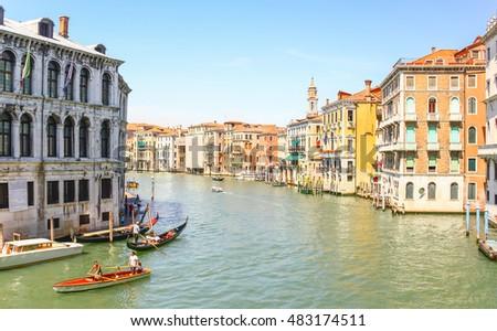 VENICE, ITALY - AUG 13, 2011 : Gondolas sailing in Grand canal, Venice, Italy #483174511