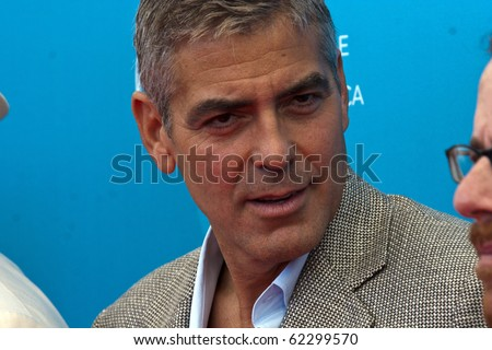 VENICE, ITALY - AUGUST 27: Actor George Clooney during the 'Burn After Reading' Photocall, part of the 65th Venice Film Festival at Palazzo del Casino on August 27, 2008 in Venice, Italy - stock photo