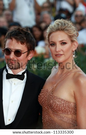 VENICE, ITALY - AUGUST 30: Kate Hudsonand Matt Bellamy arrive at the Venice Film Festival on August 30, 2012 in Venice, Italy