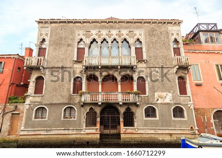 Venice, Italy. Ca 'Mastelli o del Camello, House of Mastelli or Camel. Today's view of the building dates back to the 15th century Zdjęcia stock ©