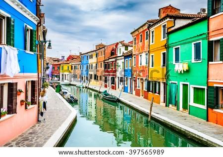 Venice, Italy. Channel view of Burano colorful village, landmark of Veneto region. #397565989