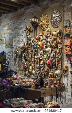 VENICE, ITALY - CIRCA APRIL 2014 - Traditional artisanship in a shop of mask in Venice #291680417