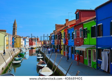 """VENICE, ITALY - CIRCA JUNE 2015 - My first journey in the Burano island, the city of colours in the lagoon of Venice.  A """"mystical"""" promenade amongst canals, houses and tourists. #408689401"""